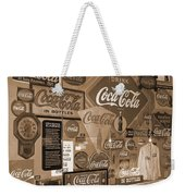 Sepia Toned Signs Of Coca Cola Weekender Tote Bag