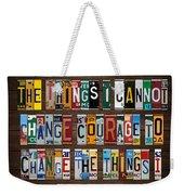 Serenity Prayer Reinhold Niebuhr Recycled Vintage American License Plate Letter Art Weekender Tote Bag