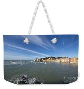 Sestri Levante With Blue Sky And Clouds Weekender Tote Bag