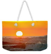 Setting Sun And Crashing Waves Weekender Tote Bag