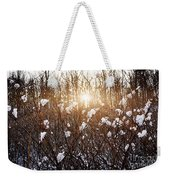Setting Sun In Winter Forest Weekender Tote Bag