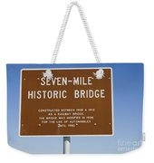 Seven Mile Bridge Florida Keys Sign Weekender Tote Bag