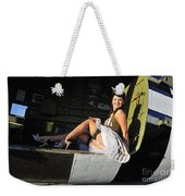 Sexy 1940s Style Pin-up Girl Sitting Weekender Tote Bag by Christian Kieffer