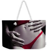 Sexy Couple Man Hands Embracing Woman In Red Weekender Tote Bag