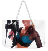 Sexy Woman Holding An Ar15 Weekender Tote Bag