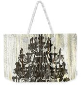Shabby Chic Rustic Black Chandelier On White Washed Wood Weekender Tote Bag