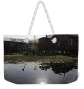 Shack And House Along With Weeds Right On Shore Of Dal Lake Weekender Tote Bag