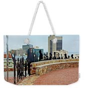 Shadow Representations Of People Coming To The Port In Donkin Reserve In Port Elizabeth-south Africa   Weekender Tote Bag