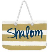 Shalom- Blue With Gold Weekender Tote Bag