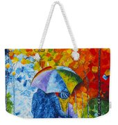 Sharing Love On A Rainy Evening Original Palette Knife Painting Weekender Tote Bag