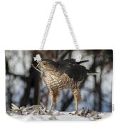 Sharp-shinned Hawk And Feather Weekender Tote Bag