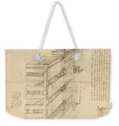Shearing Machine With Detailed Captions Explaining Its Working From Atlantic Codex Weekender Tote Bag