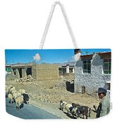 Sheep And Shepherd Along The Road To Shigatse-tibet Weekender Tote Bag