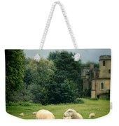 Sheep Grazing By Castle Weekender Tote Bag
