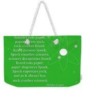 Sheldon Cooper - Rock Paper Scissors Lizard And Spock Weekender Tote Bag