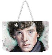 Sherlock Holmes Portrait Benedict Cumberbatch Weekender Tote Bag by Olga Shvartsur