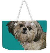 Shih Tzu On Turquoise Weekender Tote Bag