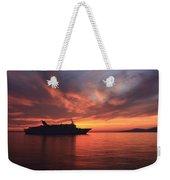 Ship At Mykonos Bay Mykonos Cyclades Greece  Weekender Tote Bag
