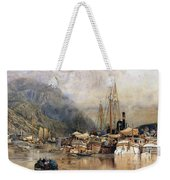 Shipping On The Hudson River Weekender Tote Bag by Samuel Colman