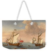 Ships In The Thames Estuary Near Sheerness Weekender Tote Bag
