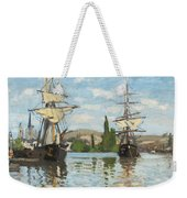 Ships Riding On The Seine At Rouen Weekender Tote Bag