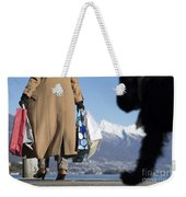 Shopping Bags And A Dog Weekender Tote Bag
