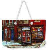 Shops And Streets Of St Henri- Montreal Paintings Depanneur Coca Cola Winter City Scenes Weekender Tote Bag