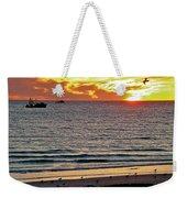 Shrimp Boats And Gulls Over Sea Of Cortez At Sunset From Playa Bonita Beach-mexico Weekender Tote Bag