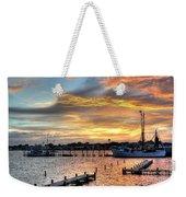 Shrimp Boats At Sunset Weekender Tote Bag by Benanne Stiens