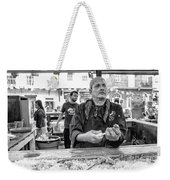 Shucking Oysters In Black And White Weekender Tote Bag