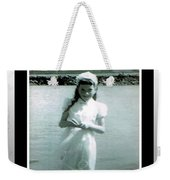 Shy Girl With New Easter Dress Weekender Tote Bag