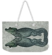 Siamese Twins Blue And Green Crocodiles On Sage Green Stone Weekender Tote Bag
