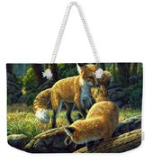 Red Foxes - Sibling Rivalry Weekender Tote Bag