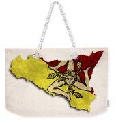 Sicily Map Art With Flag Design Weekender Tote Bag