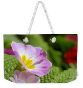 Side View Of A Spring Pansy Weekender Tote Bag