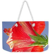Side View Of Scarlet Red Hibiscus In Bright Light Weekender Tote Bag