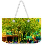 Sidewalk Cafe Rue St Denis Dappled Sunlight Shade Trees Joys Of Montreal City Scene  Carole Spandau Weekender Tote Bag