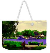 Sights Along The Harbor Late Day Stroll Lachine Canal Bike Path Montreal Scenes Carole Spandau Weekender Tote Bag