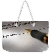 Sign Here Weekender Tote Bag