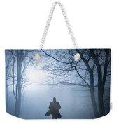 Silhouette Man Running In Foggy Woodland Weekender Tote Bag