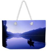 Silhouette Of A Canoeist At Sunrise Weekender Tote Bag