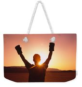 Silhouette Of A Person Wearing Boxing Weekender Tote Bag by Panoramic Images
