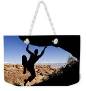 Silhouette Of A Rock Climber Weekender Tote Bag