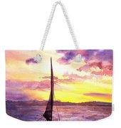 Silhouette Of Boat And Sailors On Torch Lake Michigan Usa Weekender Tote Bag