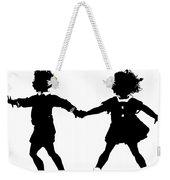 Silhouette Of Children Rollerskating Weekender Tote Bag