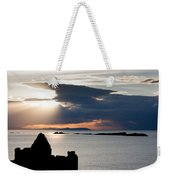 Silhouette Of Dunluce Castle Weekender Tote Bag by Semmick Photo