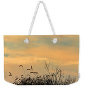 Silhouette Of Grass And Weeds Against The Color Of The Setting Sun Weekender Tote Bag