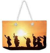 Silhouette Of Hula Dancers At Sunrise Weekender Tote Bag