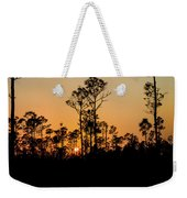 Silhouette Of Trees At Sunset Weekender Tote Bag