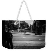 Silhouetted Man Leans Black And White Weekender Tote Bag